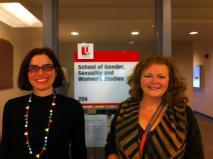 Maria e Andrea O'Reilly, coorientadora canadense, na York University