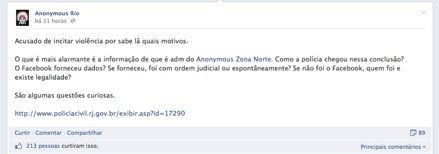 Fonte: Facebook/Anonymous