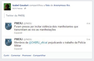 Fonte: Facebook/Izabel_Goudart , 22/07/2013