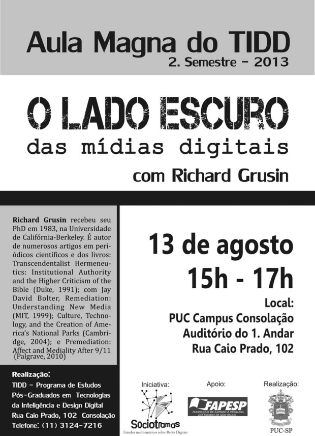 Cartaz Aula Magna Richard Grusin