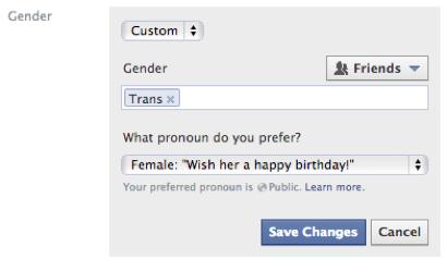 Menu do Facebook com nova opção de identidade sexual